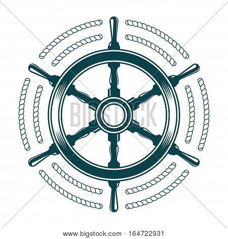 steering wheel with rode vintage vector illustration