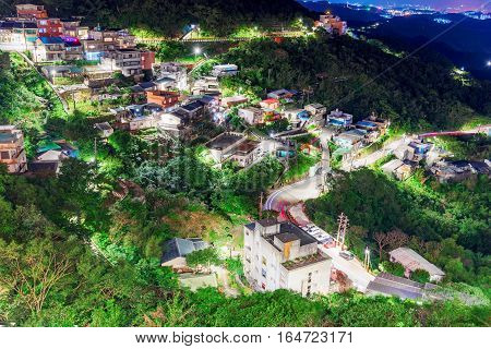 View of Jiufen town and nature at night