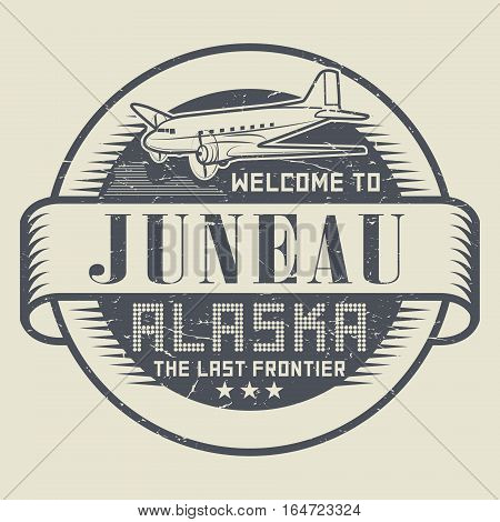 Grunge rubber stamp or tag with text Welcome to Juneau Alaska vector illustration