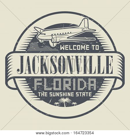 Grunge rubber stamp or tag with text Welcome to Jacksonville Florida vector illustration