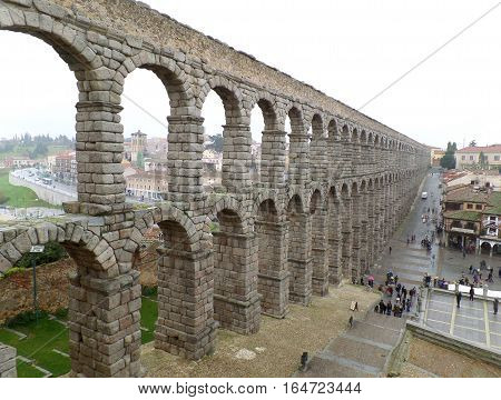 The Breathtaking View of Roman Aqueduct of Segovia, Spain