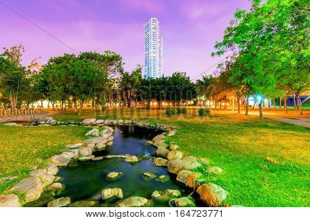 Stream at night in Kaohsiung central park