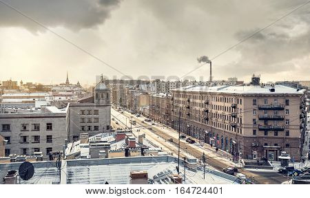View From The Roof In Winter Petersburg