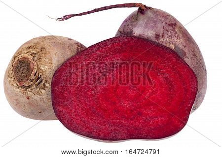 Vegetables of red beetroot isolated on white background close up