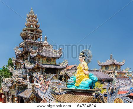 The Beautiful Linh Phuoc Pagoda In The Mosaic Style On The Blue Sky Background In Da Lat City