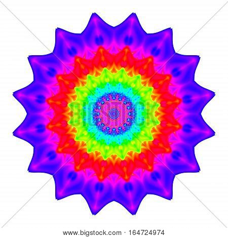Abstract mandala in rainbow colors. Flower isolated on white background. Bright colorful bloom. Multicolor esoteric petal mandala.