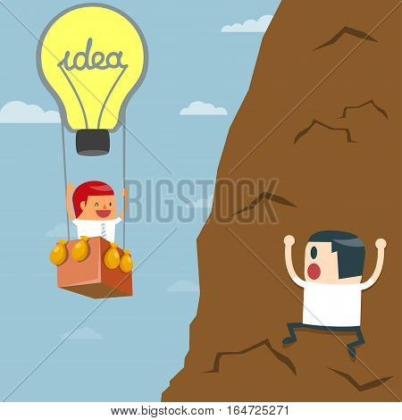 Business moves faster with a idea bulb balloon. Businessman flying by idea bulb balloon Business concept - vector illustration