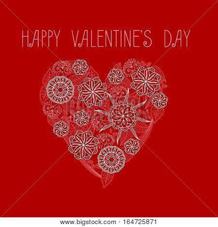 Heart on Valentine's Day. Vector monocrome illustration. Design element