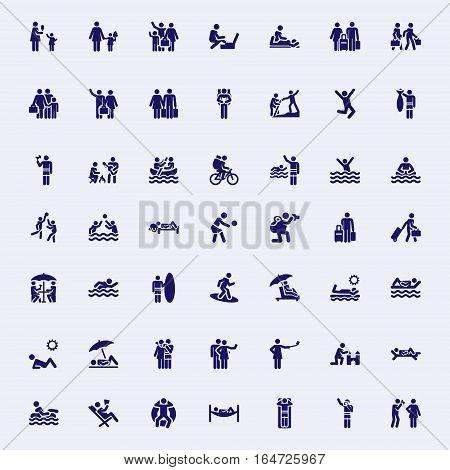 Vector monochrome icons holiday theme set stick figure