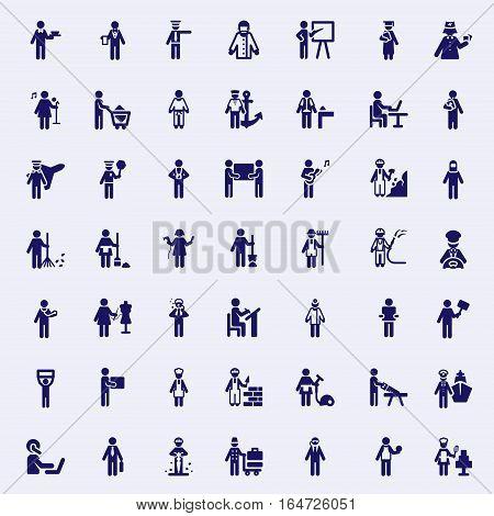 Professions stick figures. Vector Monochrome illustration set