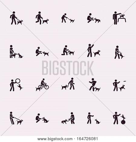 Stick figures. Man with dog. Vector Monochrome illustration
