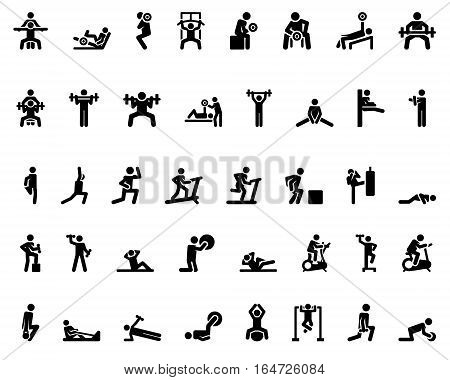 Stick figure. Sports icons. Vector Monochrome illustration