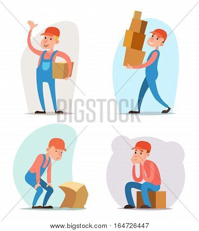 Box Cargo Freight Loading Delivery Shipment Loader Deliveryman Character Icon Design Template Vector Illustration
