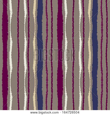Seamless strip pattern. Vertical lines with torn paper effect. Shred edge texture. Brown, violet, cream colored background. Vector