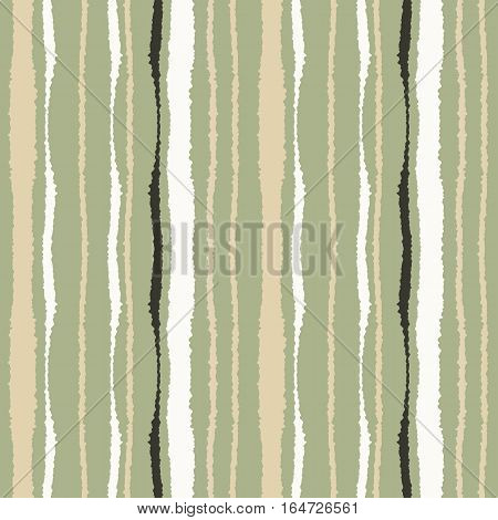 Seamless strip pattern. Vertical lines with torn paper effect. Shred edge texture. Gray, cream, white colors on olive background. Winter theme. Vector