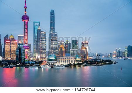 shanghai closeup on nightfall modern buildings in the financial center of China