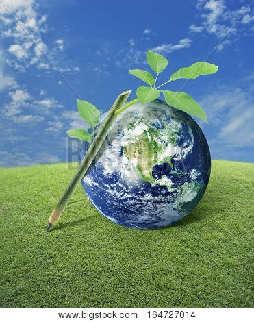 Wooden pencil tree trunk and leaves with planet earth on grass field over blue sky Idea for earth concept Elements of this image furnished by NASA