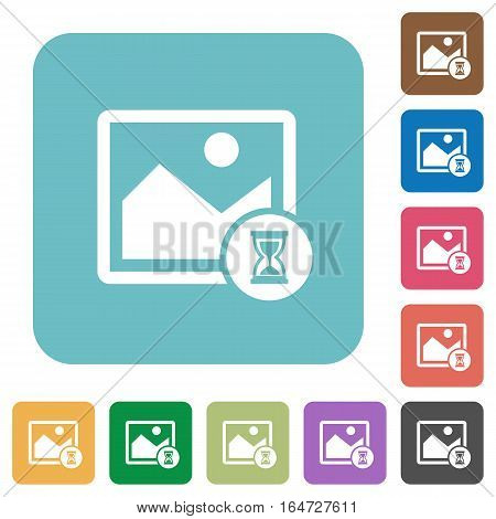 Image processing white flat icons on color rounded square backgrounds