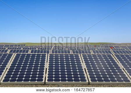 photovoltaic modules in prairie power plant using renewable solar energy