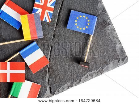 Political Concept With Small Flags Of The European Union (eu)