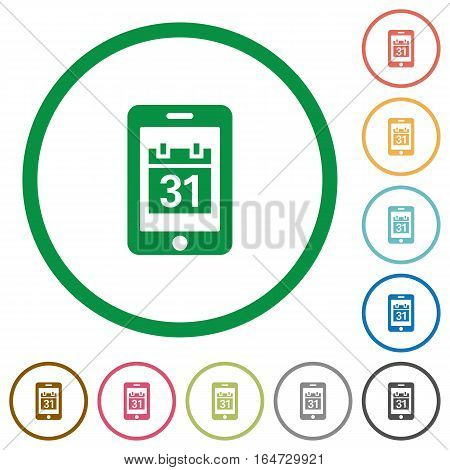 Mobile organizer flat color icons in round outlines on white background