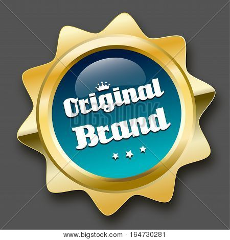 Original brand seal or icon with crown symbol. Glossy golden seal or button with stars and turquoise color.