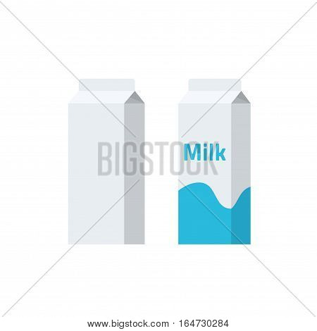 Carton paper packaging box vector illustration, empty blank milk product package, pack container for milk or juice isolated on white background