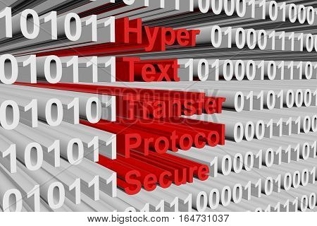 Hyper Text Transfer Protocol Secure in the form of binary code, 3D illustration