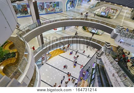 Ho Chi Minh City, Vietnam - January 8th, 2017: Shopping Mall with modern architecture several floors equipped with escalators many amusement parks, restaurants, movie theaters attract visitors weekend