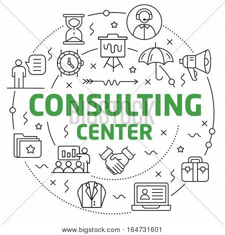 Vector Line Art Illustration in Flat styles consulting center