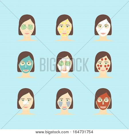 Cartoon Face Mask Skincare Set Flat Design Style. Spa Beauty or Cosmetic Procedures. Vector illustration