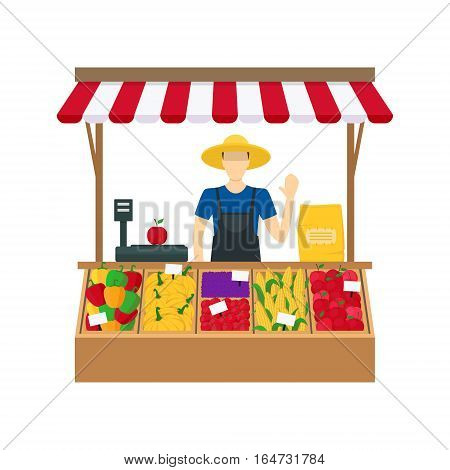 Cartoon Farmer Vegetable Seller at the Counter Organic Food Farm Flat Design Style. Vector illustration