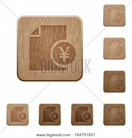 Yen report on rounded square carved wooden button styles