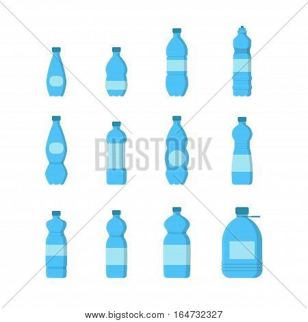 Cartoon Plastic Blue Bottles for Liquid, Water with Cap Set Flat Design Style. Vector illustration