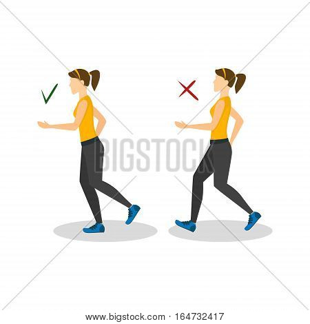 Correct or Incorrect Positions for Running Health Care Concept. Flat Design Style. Vector illustration