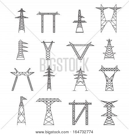 Silhouettes of High Voltage Electric Post Icon Set Thin Line Pixel Perfect Art. Material Design. Vector illustration