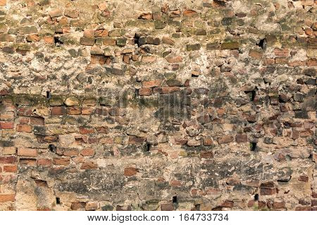 Old brick wall, under construction concept background