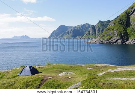 Camping on the coast of Moskenes in the Lofoten Islands Norway Europe