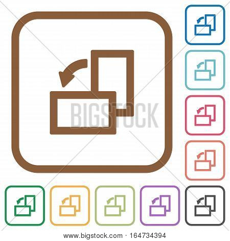 Rotate left simple icons in color rounded square frames on white background