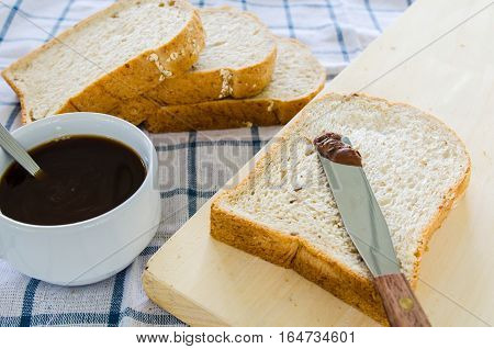 black coffee with whole wheat bread for breakfast