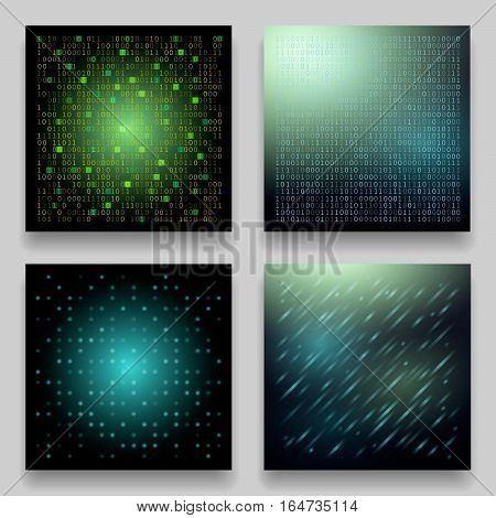 Vector set of four technological geometric templates for cards. Dark green patterns on the theme of coding matrix data transmission cosmos space universe galaxy on blur background.