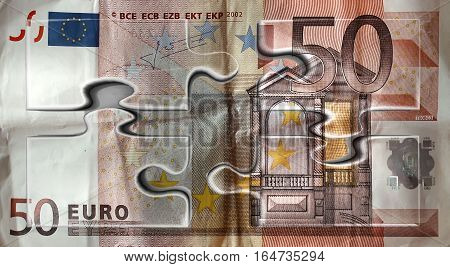 50 Euro Banknote Puzzle. European Money. Fifty. Wealth.