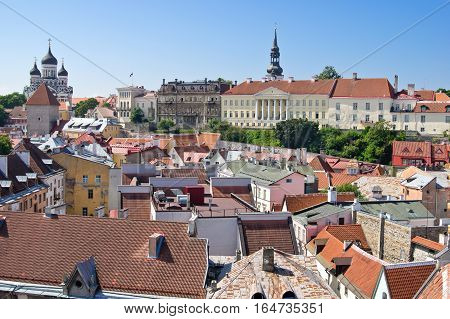 Aerial view of Toompea (upper city) over the roofs of lower town of old Tallinn Estonia