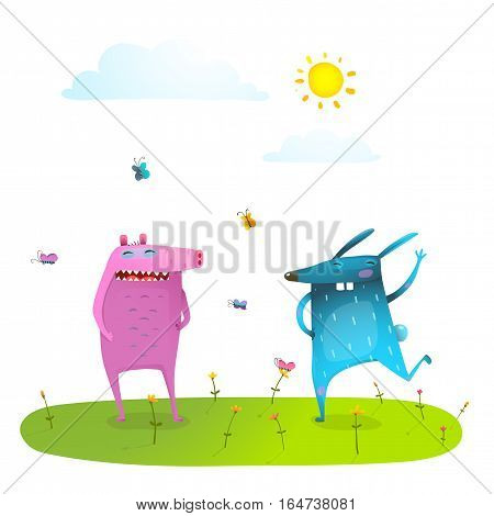 Monsters friendship for kids and butterflies in nature funny and cute. Vector cartoon.
