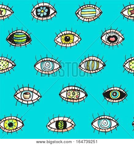 Eye tileable backdrop, colored sketchy textured doodle design. Vector illustration.