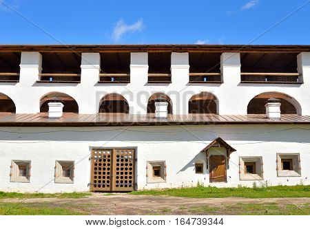 Wall of Kirillo-Belozersky monastery by day near City Kirillov Vologda region Russia.