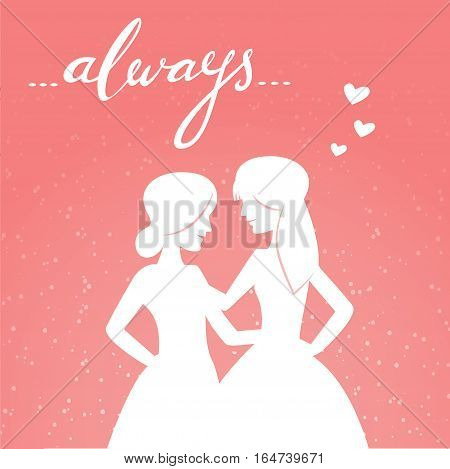 Romantic vector illustration of happy same-sex couple and hand-lettered word