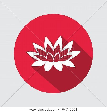 Lily, lotus flower icon. Water-lilies, waterlily floral symbol. Round circle flat sign with long shadow. Vector