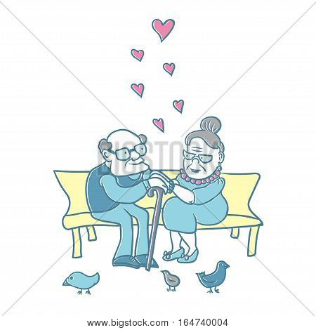 Lovely and happy senior couple. Vector illustration. Cartoon characters. Elder caucasian man and woman spending time together.