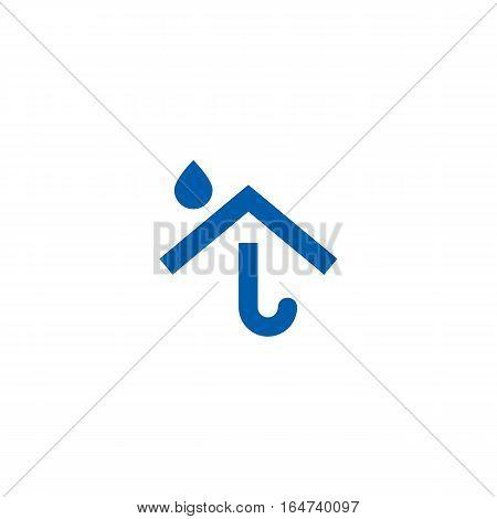 Umbrella house logo isolated on a white backgorund.